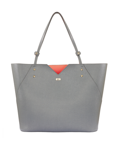 Grey Italian Leather Tote Bag Designer Stacy Chan