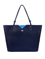 Stacy Chan Italian Leather Tote Bag in Navy Blue