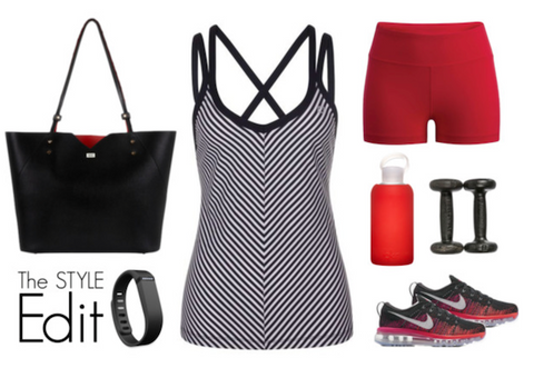 Workout Outfit with Veronica Tote Bag in Noir Saffiano Leather