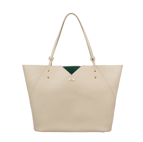 Cream White Italian Leather Tote Bag Designer Stacy Chan