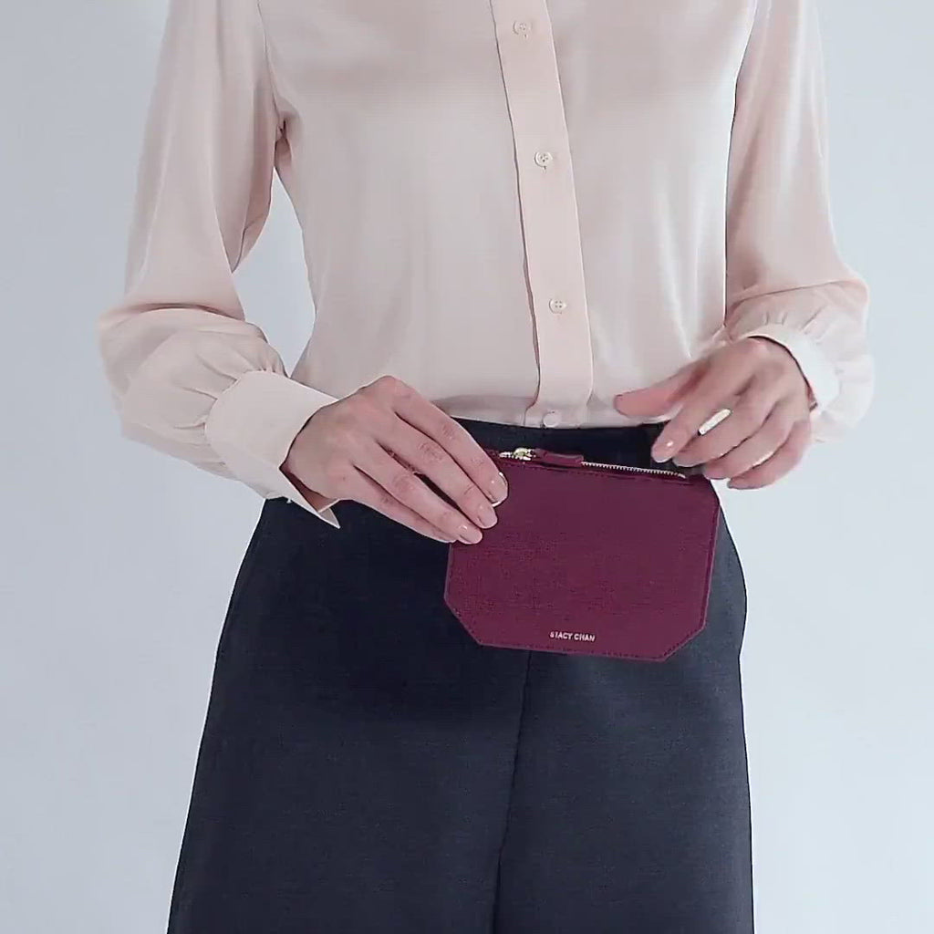 Italian Leather Pouch Coin Purse -Designer Stacy Chan