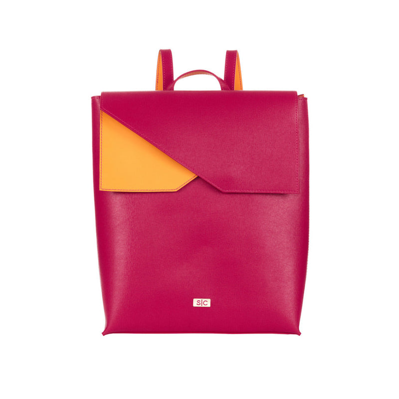 Two-tone Fuchsia Leather Backpack Designer Stacy Chan