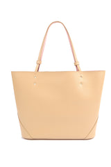 Nude Beige Leather Tote Bag - Designer Stacy Chan