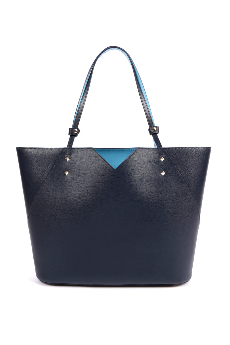 Navy Blue Leather Tote Bag - Designer Stacy Chan