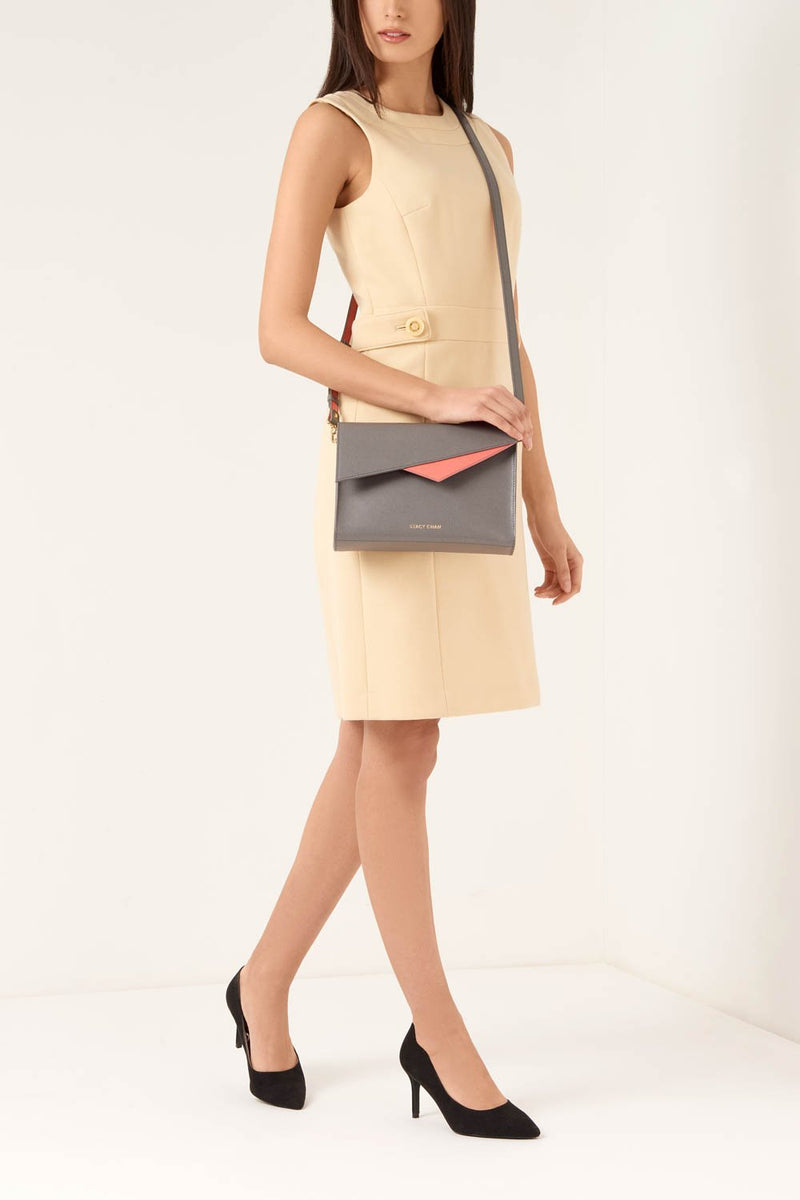Grey Italian Leather Cross Body - Designer Stacy Chan