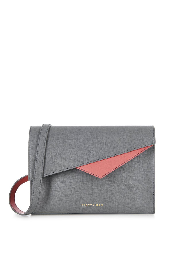 Grey Saffiano Leather Cross Body - Designer Stacy Chan