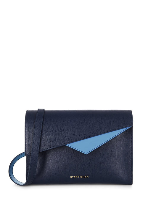 Alex Cross Body Bag in Navy Saffiano Leather - Stacy Chan Limited