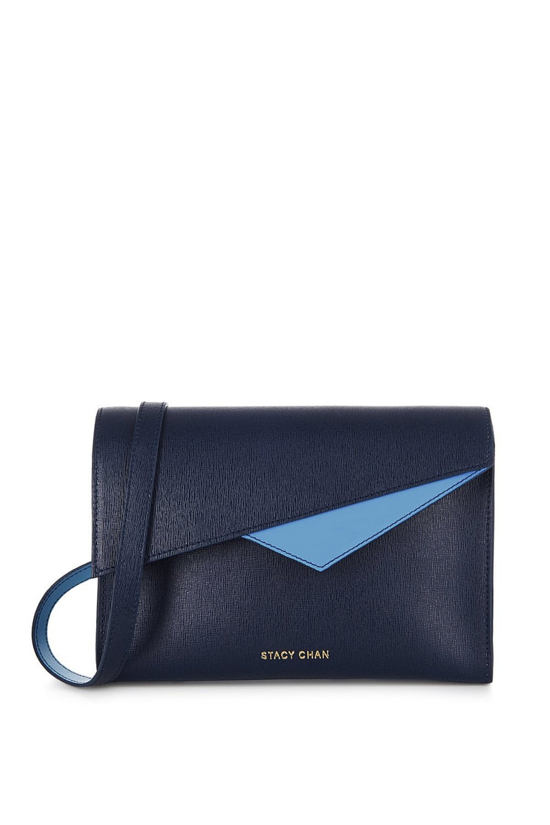 Navy Blue Saffiano Leather Cross Body Handbag - Designer Stacy Chan