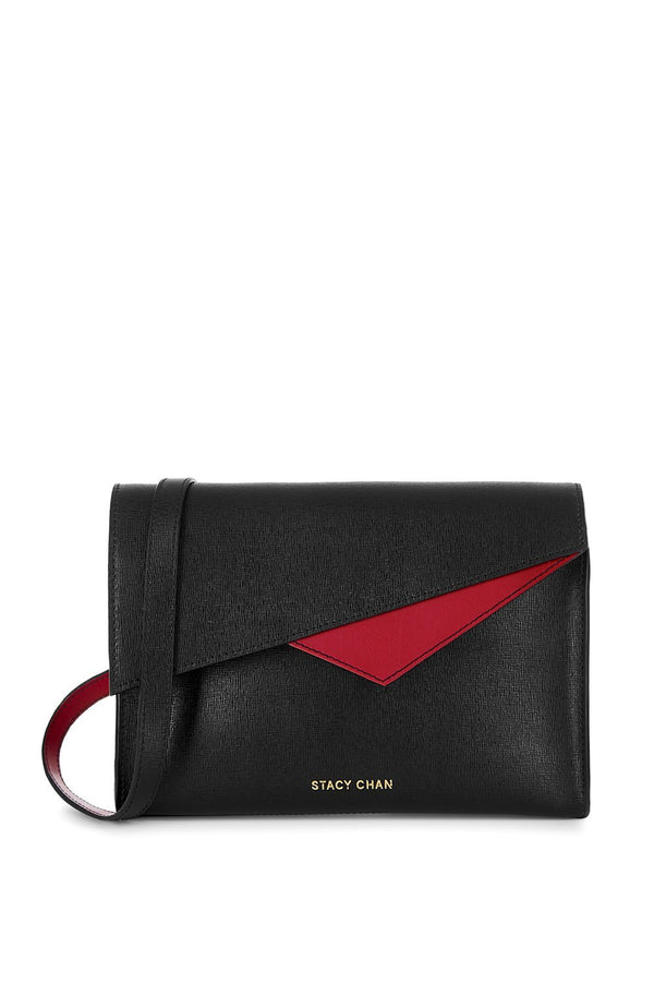 Black Saffiano Leather Cross Body - Designer Stacy Chan