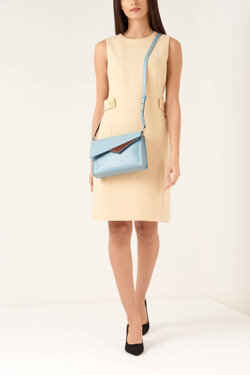 Light Blue Saffiano Leather Cross Body - Designer Stacy Chan