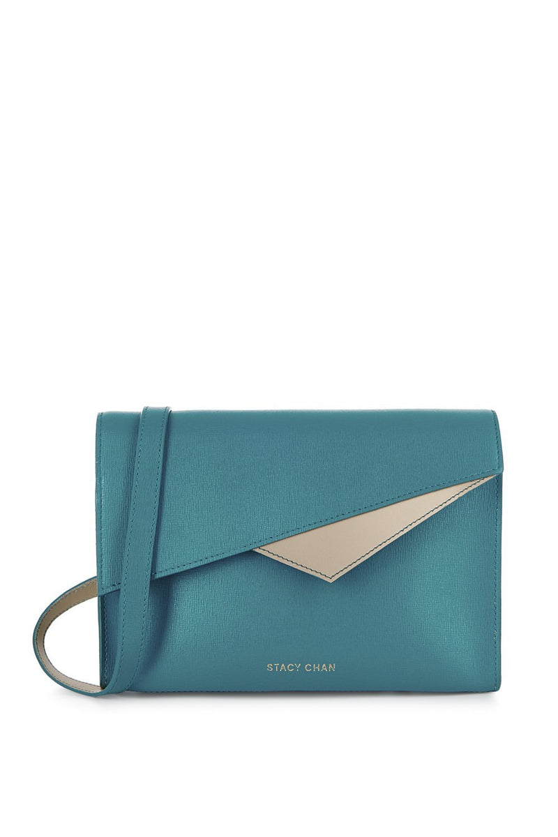 Teal Leather Cross Body Bag - Designer Handbag Stacy Chan