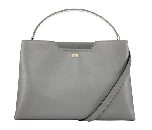 Grey Saffiano Leather Workbag Handbag - Designer Stacy Chan