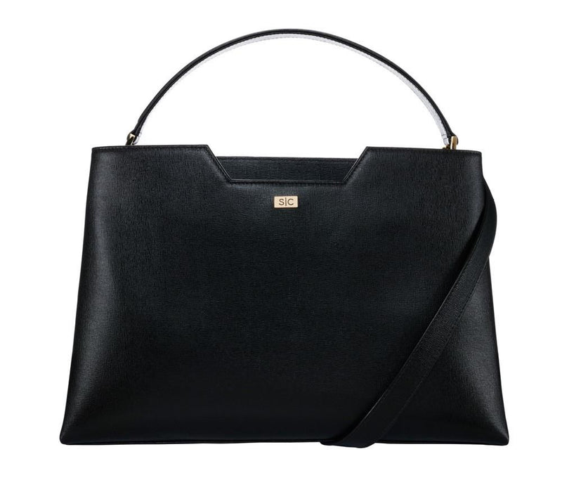 Black Saffiano Leather Work Bag Handbag - Designer Stacy Chan