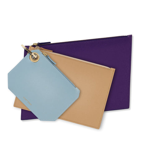 Light Blue, Nude & Purple Leather Pouch Clutch Set