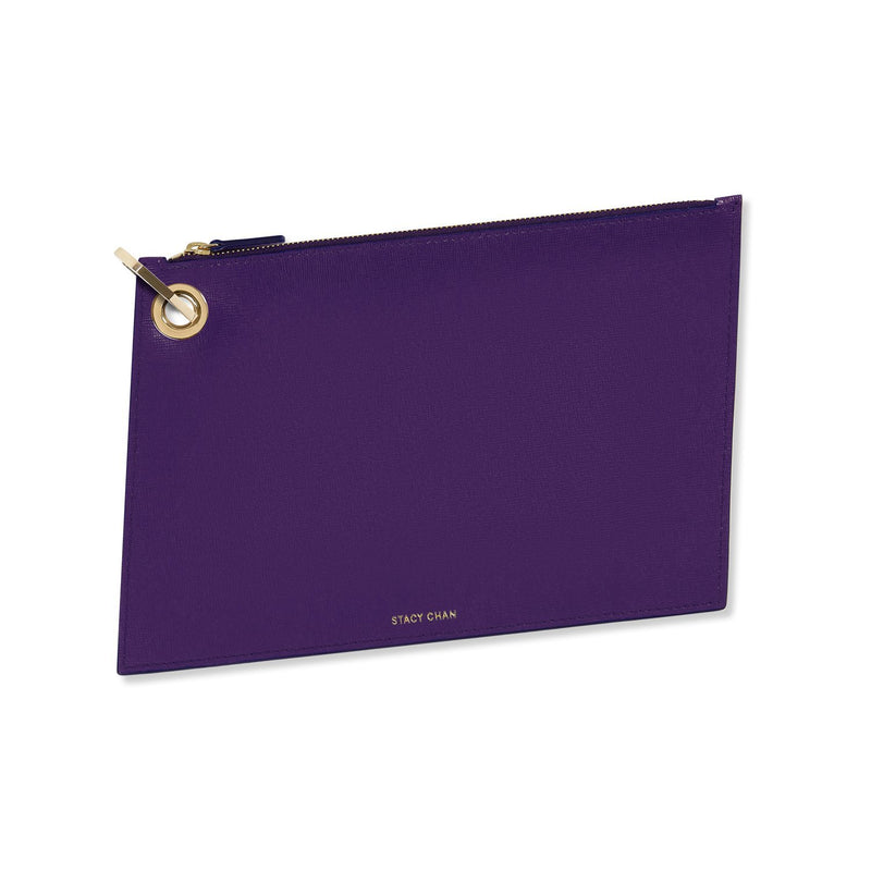 Purple Italian Leather Large Pouch Clutch with Gold Keyring