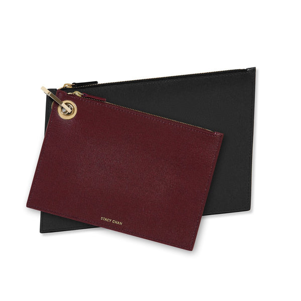 Burgundy & Navy Blue Leather Pouch Clutch Set