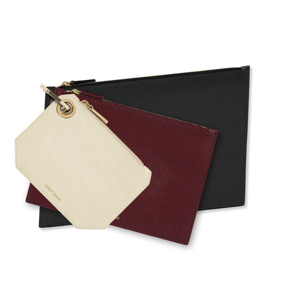 Cream, Burgundy & Navy Blue Leather Pouch Clutch Set