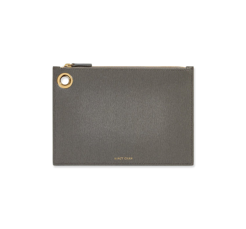 Grey Italian Leather Pouch Clutch