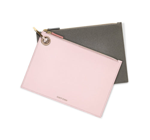 Ava Pouch Set in Saffiano Leather - Soft Duo - Stacy Chan Limited