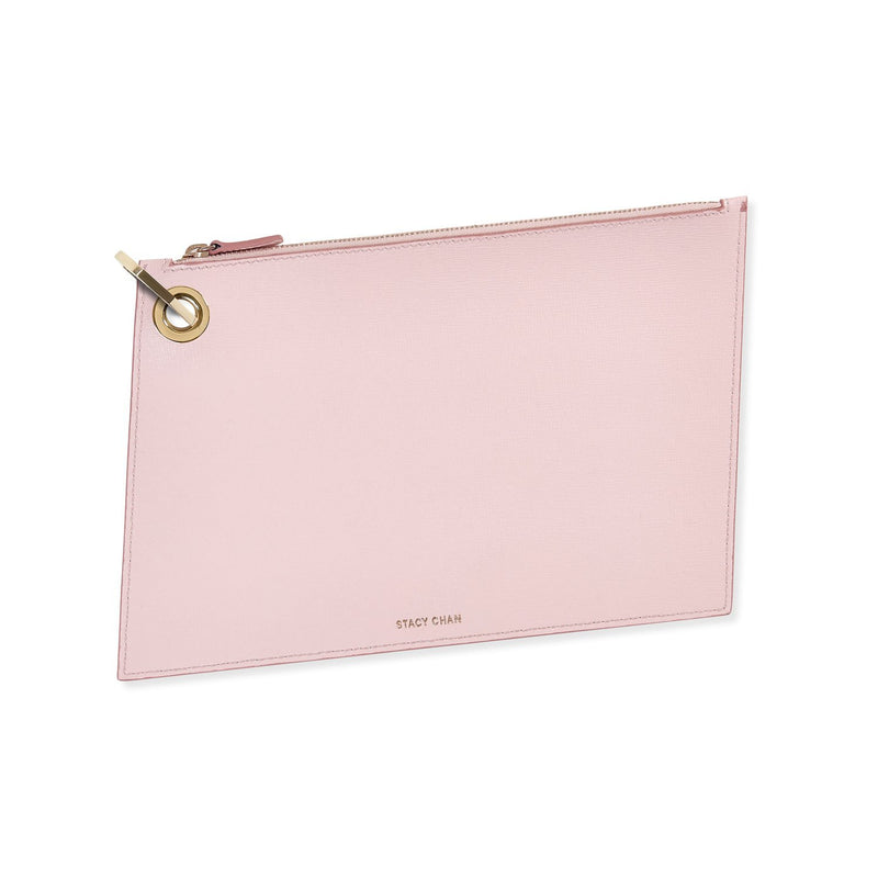 Pink Italian Leather Pouch Clutch with Gold Keyring