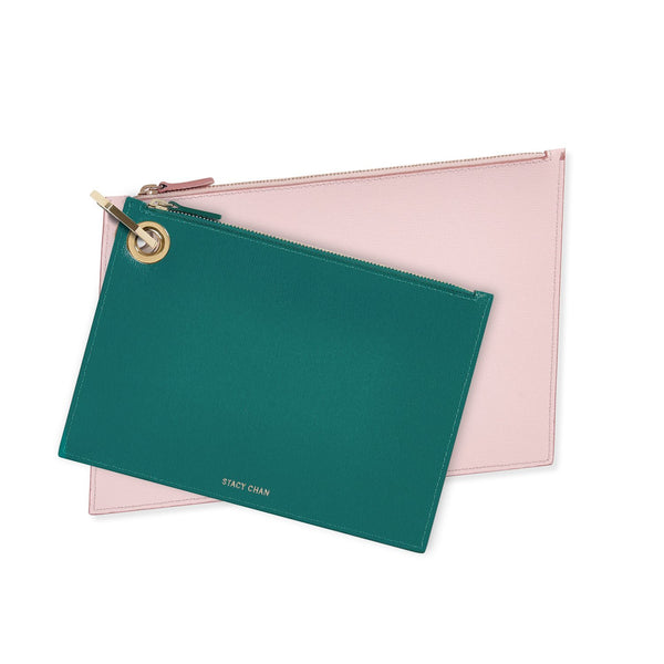 Teal & Pink Leather Pouch Clutch Set