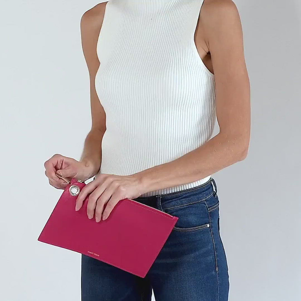 talian Leather Pouch Clutch - Designer Stacy Chan