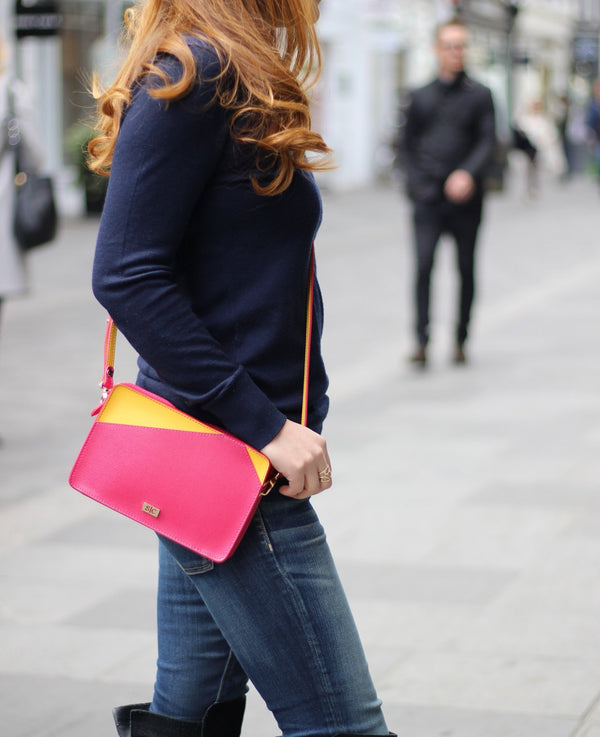 Fuchsia Italian Leather Bag Mini Bag - Designer Stacy Chan