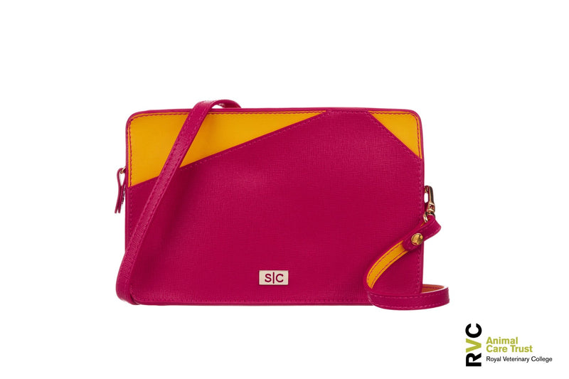 Fuchsia Leather Mini Handbag for Charity - Designer Stacy Chan