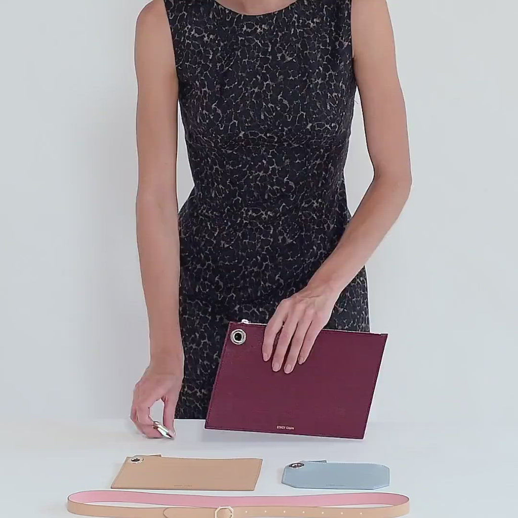 Italian Leather Pouch Set as Cross Body - Designer Stacy Chan