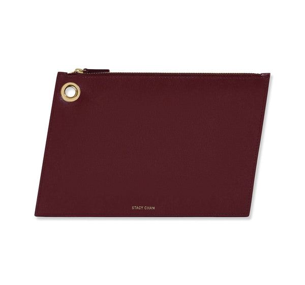 Burgundy Italian Leather Large Pouch Clutch