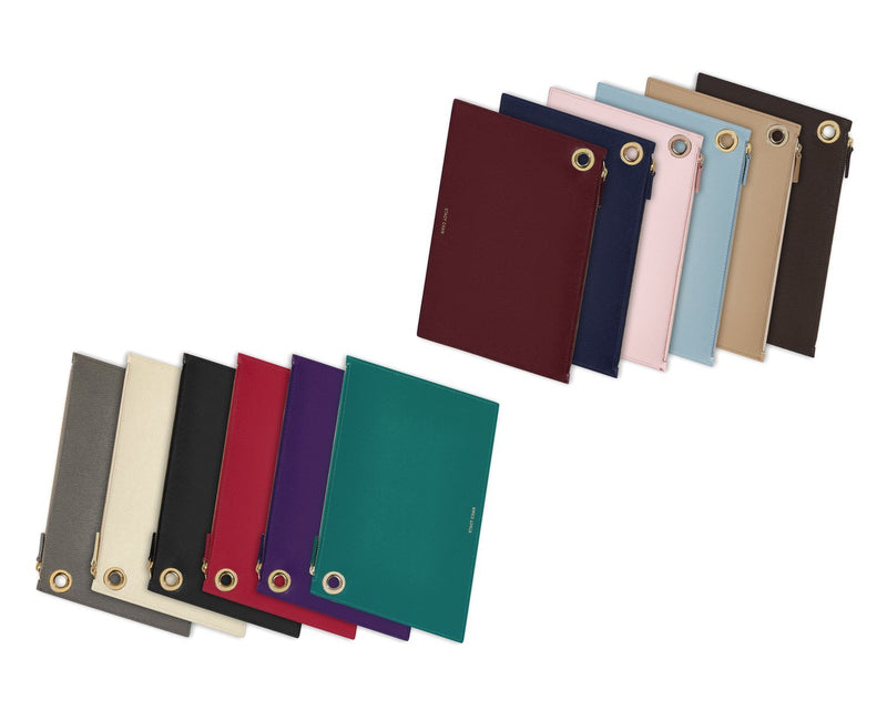 Italian Leather Large Pouch Clutch Colours