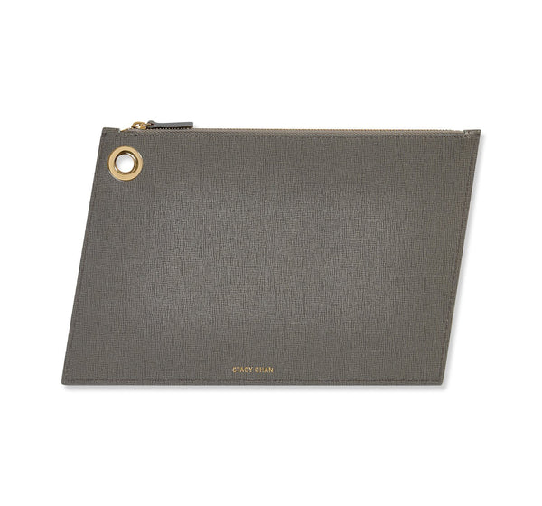 Grey Italian Leather Large Pouch Clutch