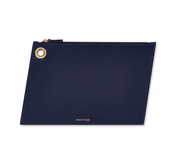 Navy Italian Leather Large Clutch Pouch