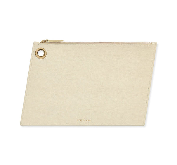 Cream Italian Leather Large Pouch Clutch