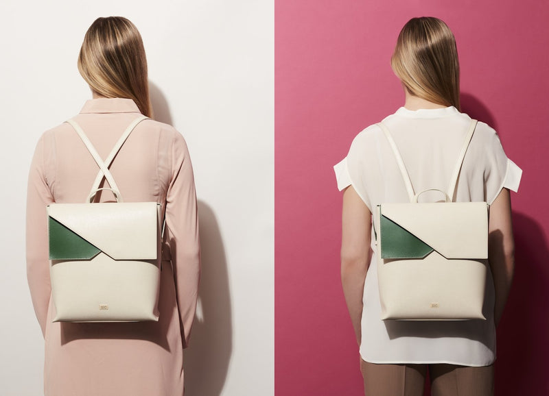 Two-tone White Saffiano Leather Backpack Designer Stacy Chan