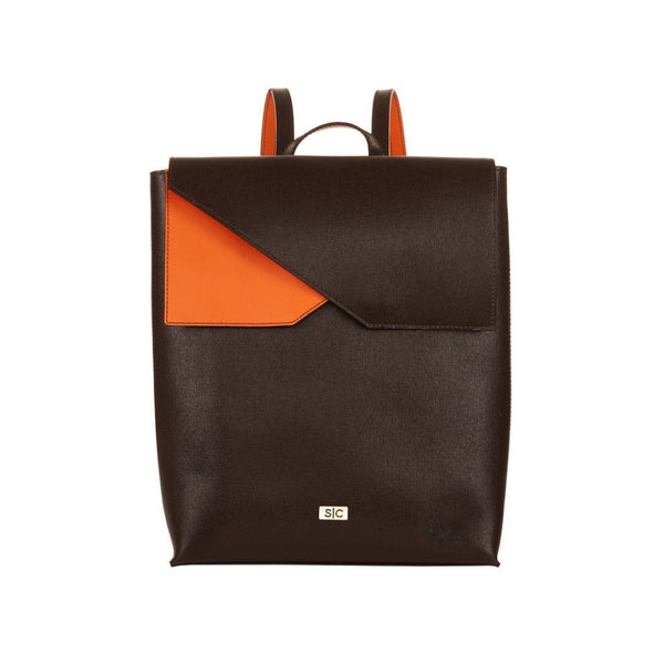 Two-tone Brown Saffiano Leather Backpack Designer Stacy Chan