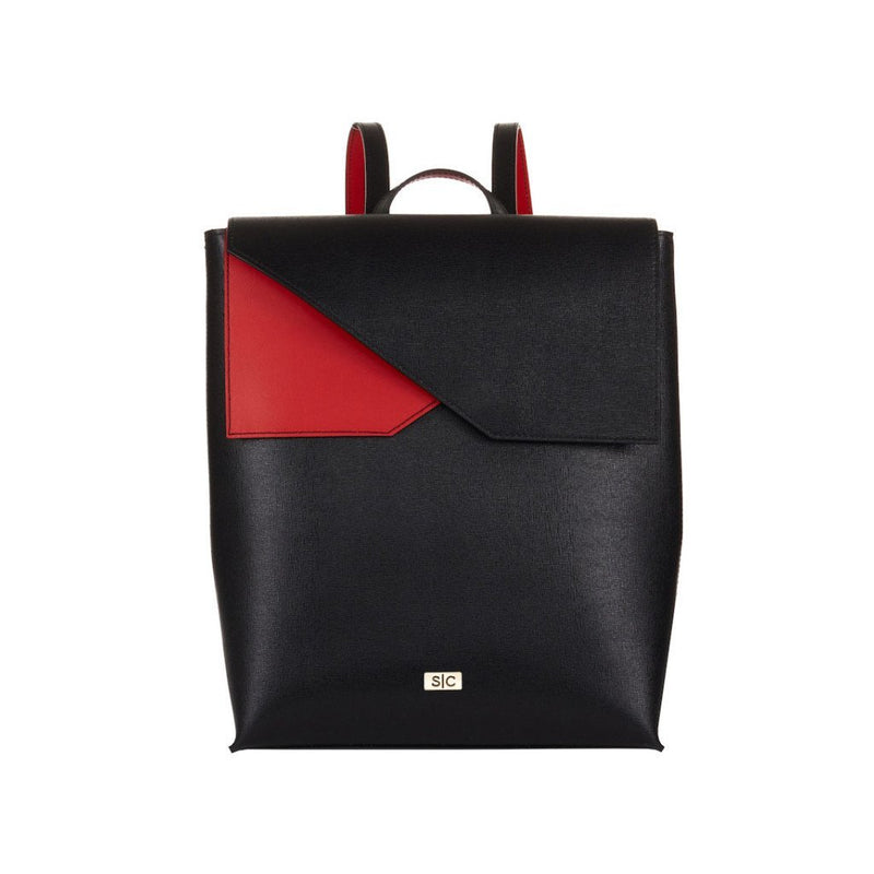 Two-tone Black Saffiano Leather Backpack Designer Stacy Chan