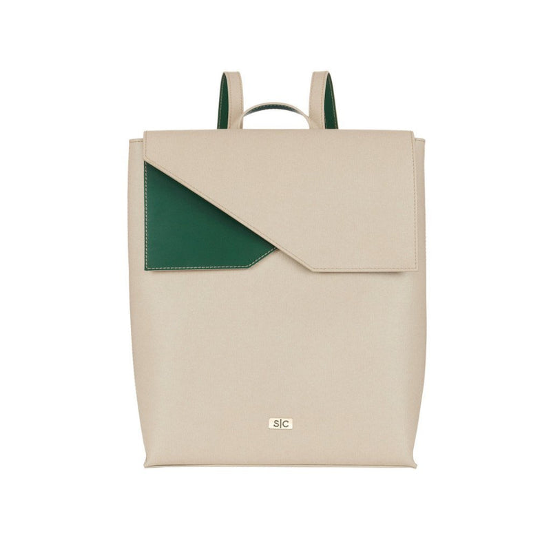 Madison Backpack in Stone Saffiano Leather - Stacy Chan Limited