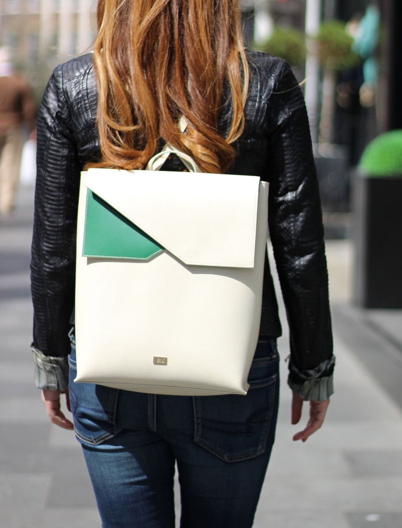 White Italian Leather Backpack - Designer Stacy Chan