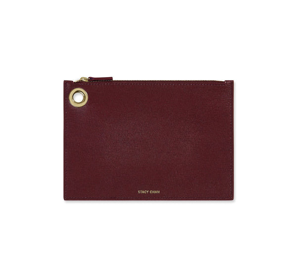Burgundy Italian Leather Pouch Clutch