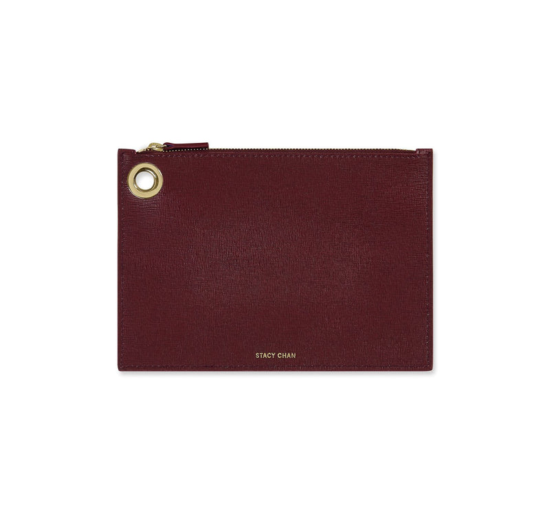 Medium Ava Pouch in Bordeaux Saffiano Leather - Stacy Chan Limited