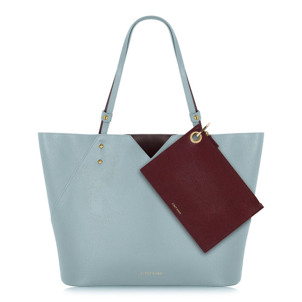 Powder Blue Leather Tote with Burgundy Leather Pouch Clutch