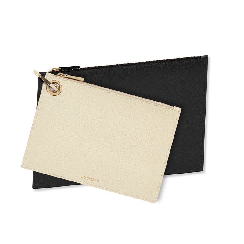 Cream & Black Leather Pouch Clutch Set