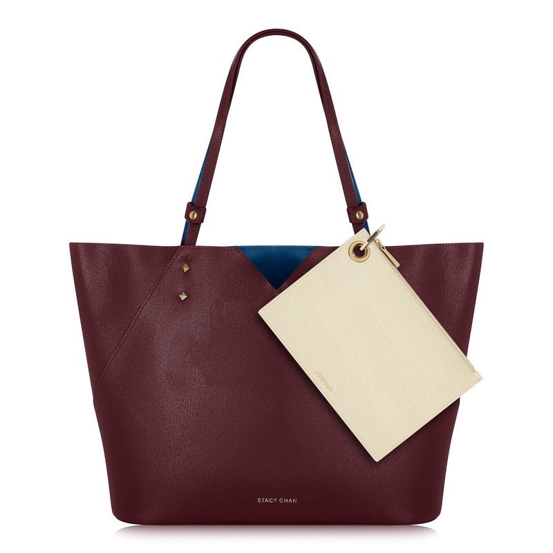 Burgundy Leather Tote Bag and Cream Leather Pouch