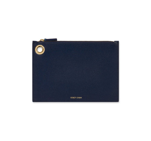 Navy Blue Italian Leather Pouch Clutch