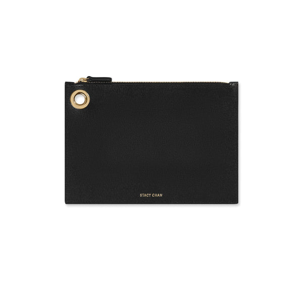 Black Leather Medium Pouch Clutch