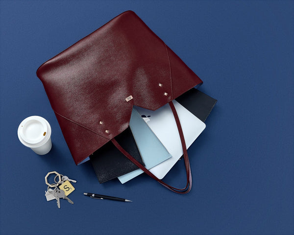Burgundy Leather Work Tote Bag with Black & Powder Blue Pouch Set