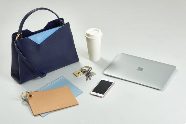 Navy Blue Leather Midi Work Bag with Nude & Powder Blue Pouch Set