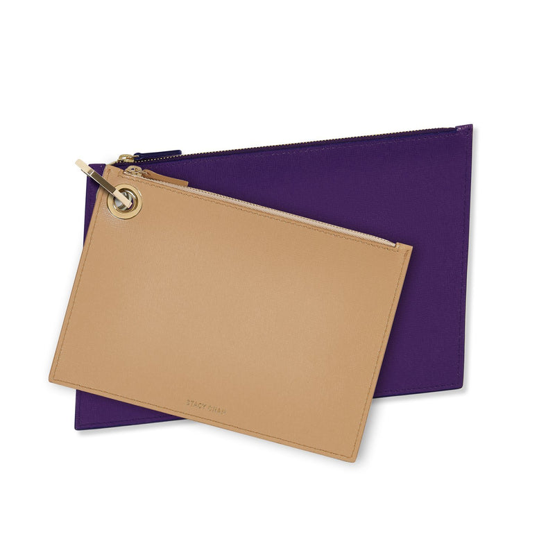Nude & Purple Leather Pouch Clutch Set
