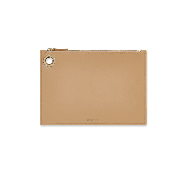 Nude Italian Leather Pouch Clutch